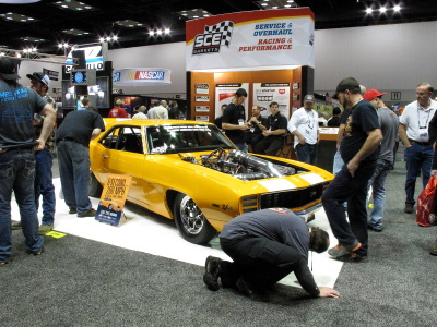 1969 Yellow Z28 Camaro in SCE Gaskets booth