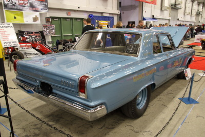 Light blue 65 Dodge with a Hemi under the hood