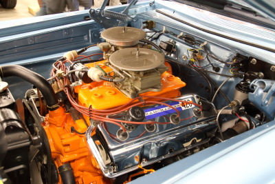Hemi under the hood of the 65 Dodge