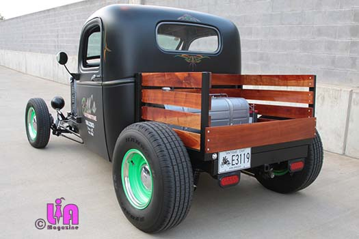 Allison Holt's 40 Chevy cusom bed out of Cherry wood planks