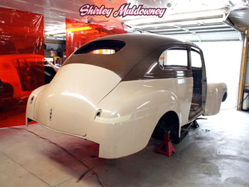 Back 3/4 of Shirley Muldowney's '40 Plymouth