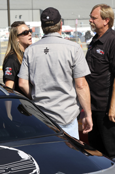 Brandy conversing with Mike from Speed by Spectre and Greg from Ride Tech